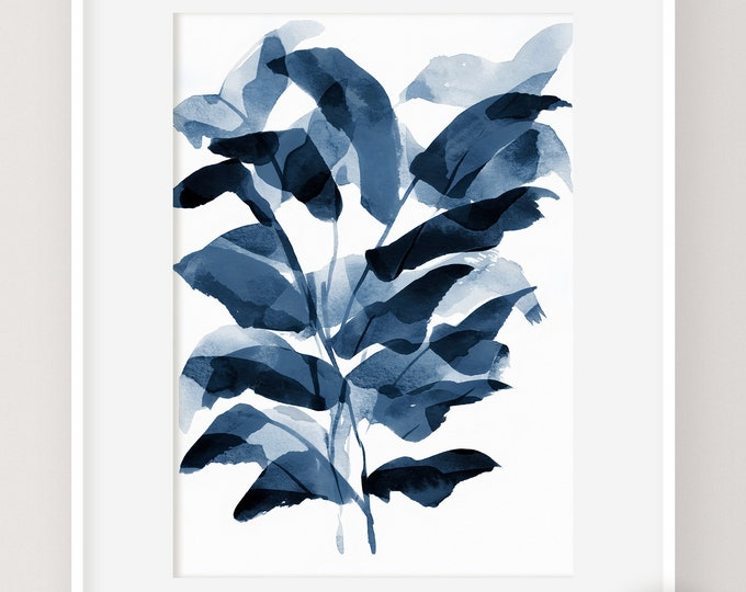 Navy Blue Plant Print, Abstract Leaf Art, Watercolour Painting, Leaf Poster, Digital Prints, Botanical Print, Printable Art, Modern Wall Art