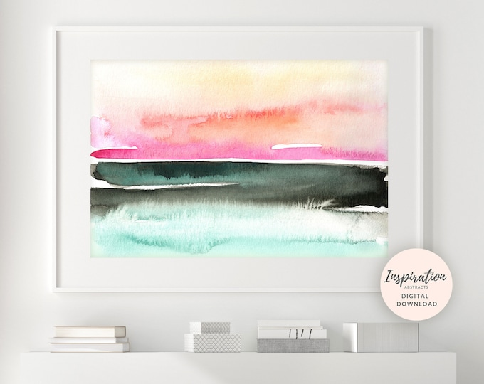 Colourful Watercolour Painting, Abstract Landscape, Colourful Wall Art, Sunset Painting, Printable Art, Abstract Art, Extra Large Wall Art