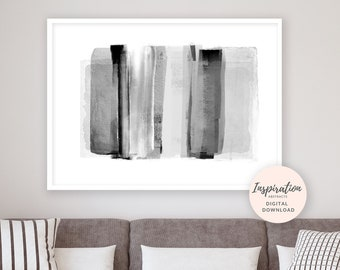 Contemporary Abstract Print, Oversized Wall Art, 24x36 Art Print, Black and White Painting, Scandi Decor, Living Room Art