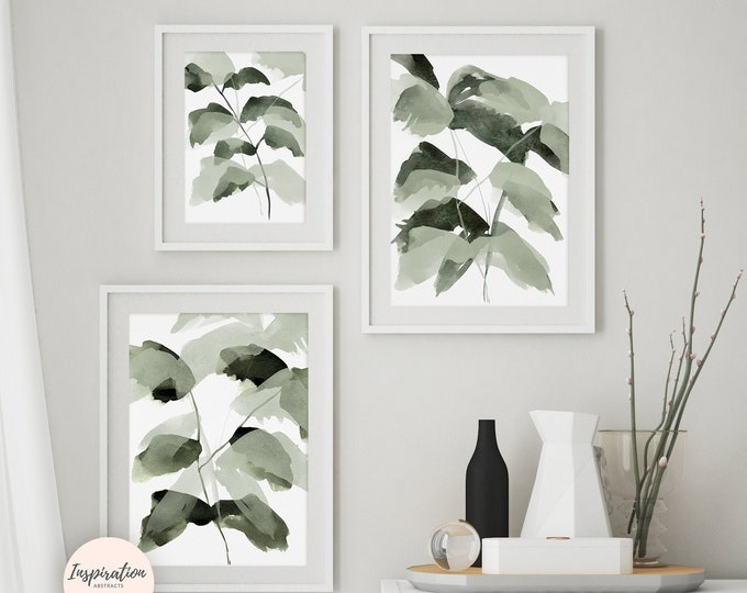 Set of 3 Plant Prints, Greenery Wall Art, Gallery Wall Set, Printable Art, 3 Piece Wall Art, Watercolour Print, Modern Art, Leaf Posters