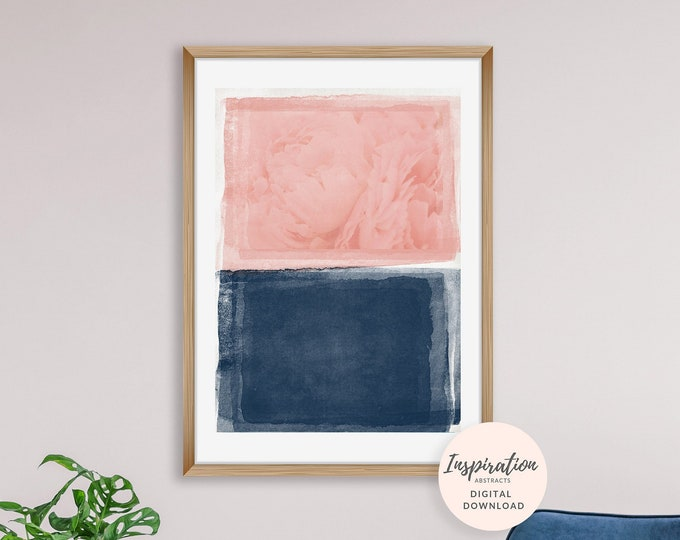 Contemporary Abstract Art, Pink Navy Wall Art, Minimal Wall Art, Mixed Media Art, Peony Wall Art, Printable Painting, Above Bed Art