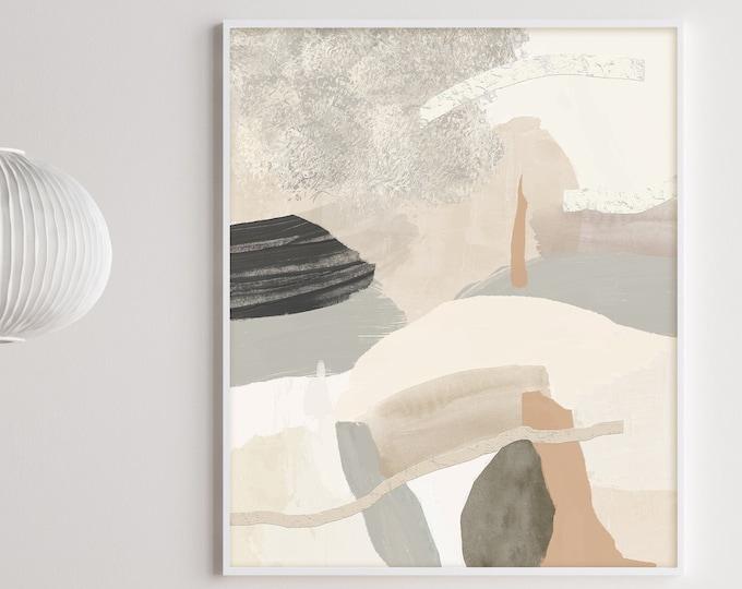 Large Abstract Painting, Neutral Tone Print, Minimalist Art,  Mixed Media Art, Abstract Art, Contemporary Art, Printable Art