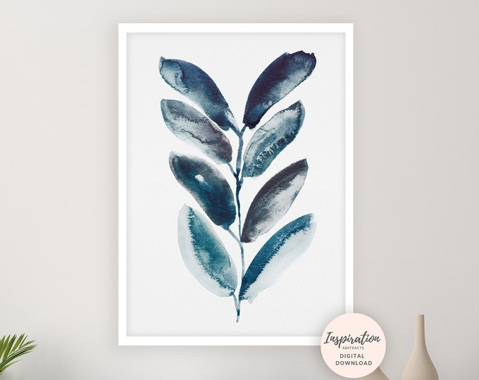 Blue Leaves Print, Watercolour Painting, Plant Prints, Blue Leaf Poster, Abstract Wall Art, Botanical Print, Minimal Art, Printable Art