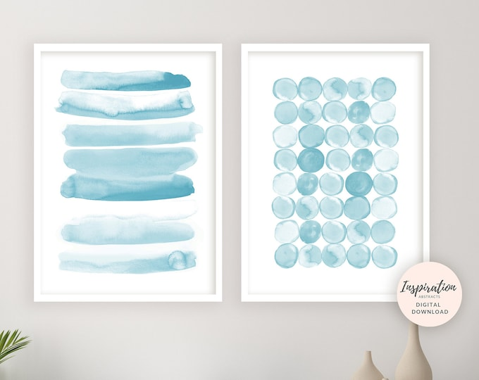 Light Blue Watercolour Paintings, Minimalist Art, Set of 2 Prints, Printable Art, Brushstrokes Art, Beach House Decor, Nursery Wall Art