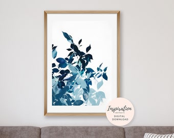 Abstract Leaf Print, Navy Blue Wall Art, Plant Print, Vertical Wall Art, 24x36 Art Prints, Large Wall Art, Plant Poster, Leaf Print