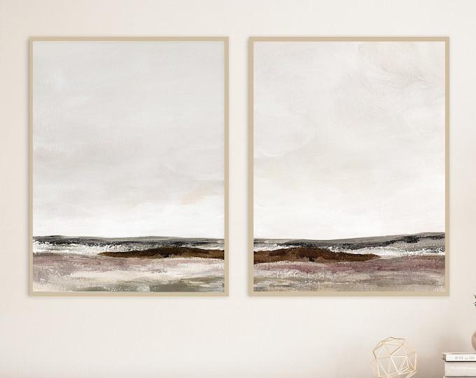 Set Of Two Moody Landscape Paintings, Abstract Print Set, Minimalist Art, Printable Art, Large Wall Art, Earth Tone Prints
