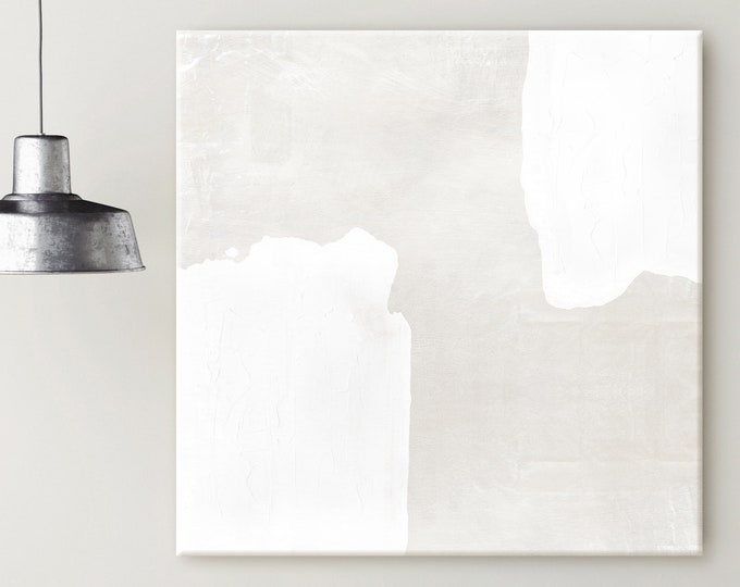 Large Beige and White Canvas Print, Minimalist Abstract Painting, Oversized Wall Art, Modern Art, Abstract Art, Zen Wall Art