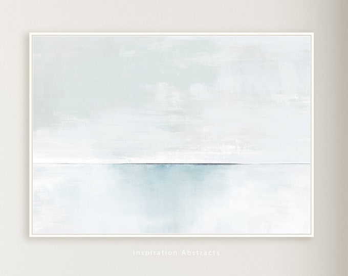 Serene Canvas Wall Art, Minimal Abstract Painting, Contemporary Art, Lake House Decor, Coastal Wall Art, Large Canvas Print