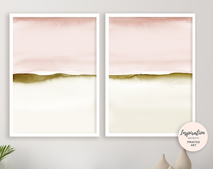 Blush Pink Wall Art, Set of Two Prints, Watercolour Prints, Bedroom Wall Art, Minimalist Art, Modern Art, Beach House Art, Calming Wall Art