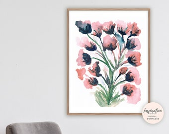 Large Watercolour Painting, Floral Wall Art, 18x24 Art Print, Pink Navy Wall Art, Printable Art, Large Flower Print, Modern Art