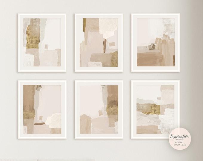 Set Of 6 Minimalist Art Prints, Neutral Abstract Paintings, Living Room Art, Contemporary Art, Printable Wall Art, Modern Wall Art