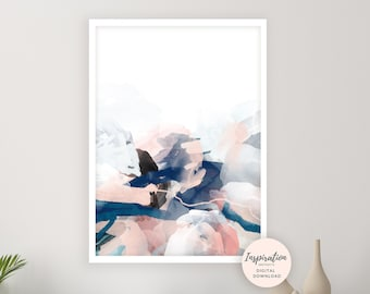 Mixed Media Abstract Painting, Pink Navy Wall Art, 24x36 Art Print, Bedroom Wall Art, Watercolour Print, Printable Art, Contemporary Art