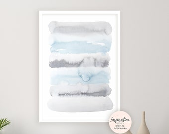 Calming Watercolour Painting, Blue Grey Wall Art, Printable Art, Abstract Wall Art, Serene Wall Art, Bedroom Wall Art, Living Room Print