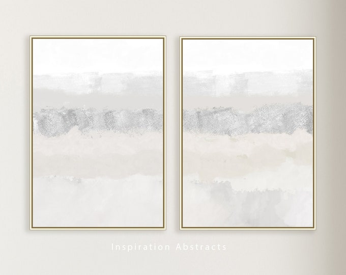 Set of Two Minimal Abstract Paintings, Large  Wall Art, Minimalist Art, Fine Art Prints, Zen Wall Art, Bedroom Wall Art, Calming Wall Art