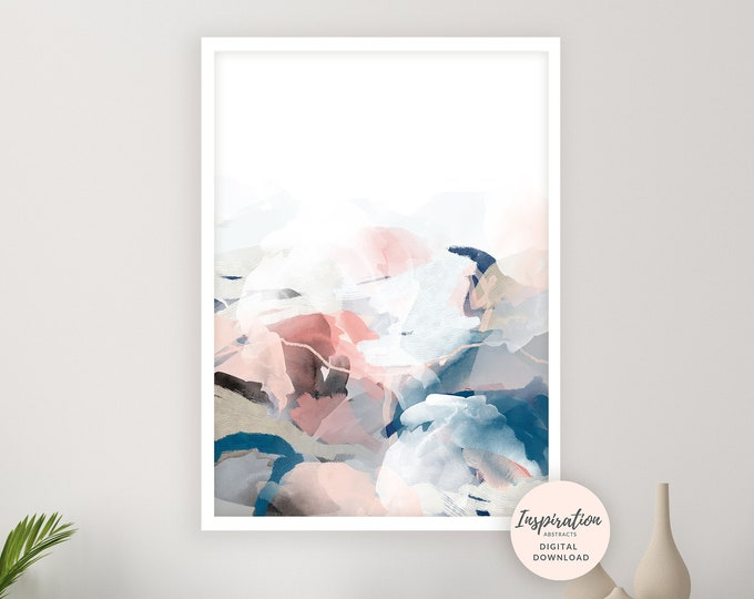 Abstract Painting, Pink and Navy Wall Art, 24x36 Art Print, Bedroom Wall Art, Watercolour Print, Printable Art, Mixed Media Art, Modern Art