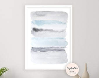 Blue Grey Wall Art, Watercolour Painting, Abstract Art, Zen Wall Art, Printable Art, Calming Wall Art, Large Wall Art, Watercolour Print