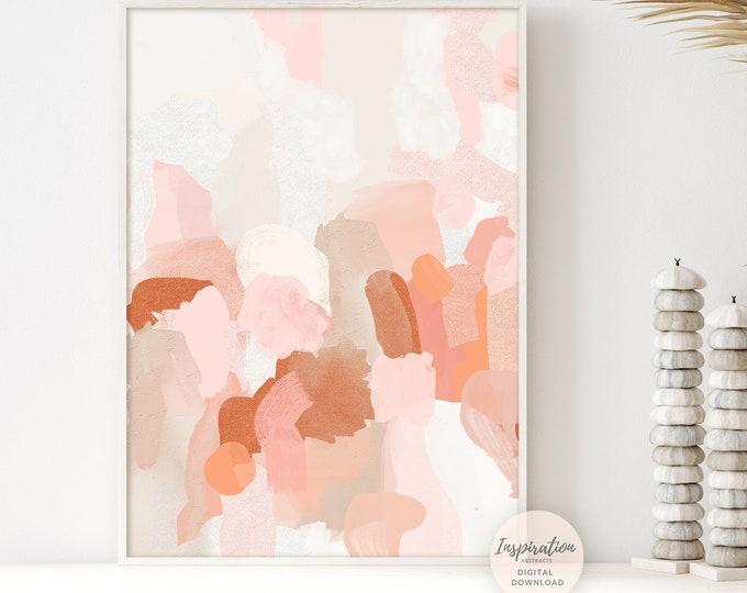 Pink Orange Minimal Abstract Painting, Printable Art, Large Minimal Art, Modern Wall Art, Poster Print, Bedroom Decor, Nursery Wall Art