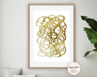 White and Gold Painting, Minimalist Print, Modern Wall Art, Gold Wall Art, Printable Art, Abstract Painting, Living Room Decor