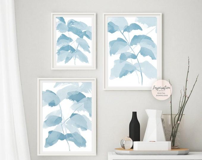 Pale Blue Botanical Print Set, Zen Wall Art, 3 Piece Wall Art, Gallery Wall Set, Coastal Decor, Bathroom Wall Art, Large Wall Art