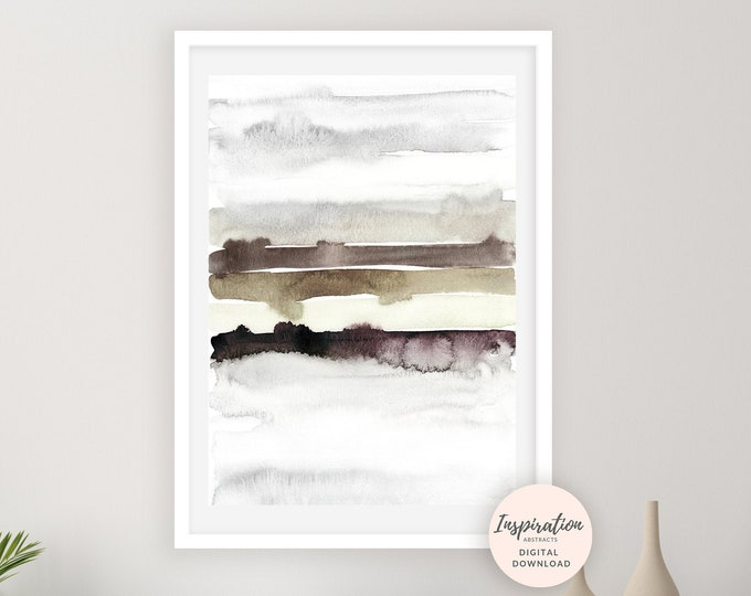 Neutral Watercolour Print, Abstract Landscape, Minimal Painting, Grey Brown Art, Minimalist Print, Printable Art, Large Wall Art