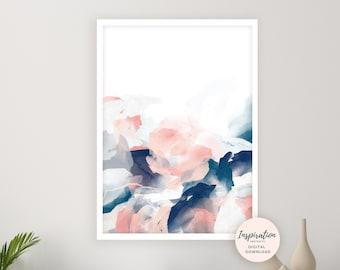 Abstract Watercolour Print, Pink Navy Wall Art, Printable Art, Watercolour Painting, Modern Wall Art, Mixed Media Art, 24x36 Art Print