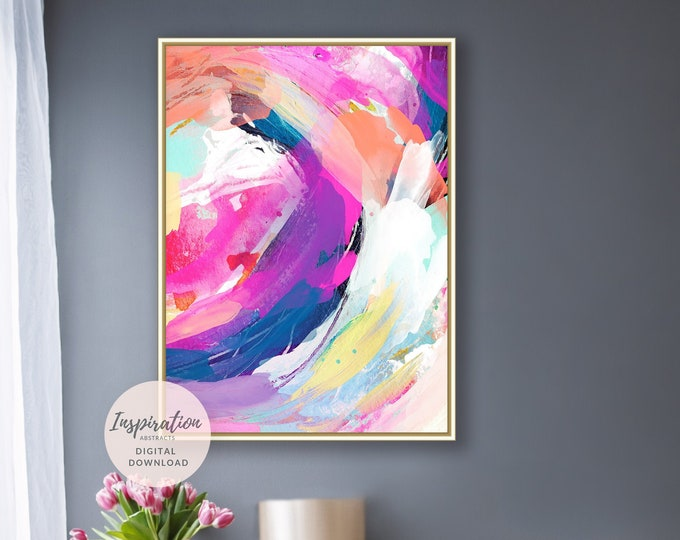 Vibrant Abstract Painting, Purple Wall Art, Printable Art, Abstract Art, 18x24 Art Prints, Modern Art, Mixed Media Art, Acrylic Painting