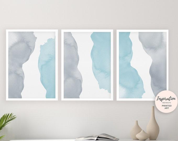 Blue Grey Wall Art, Set of 3 Prints, Blue Abstract Art, Watercolour Prints, Minimalist Art, Bedroom Art, Simple Art Prints, Beach House Art