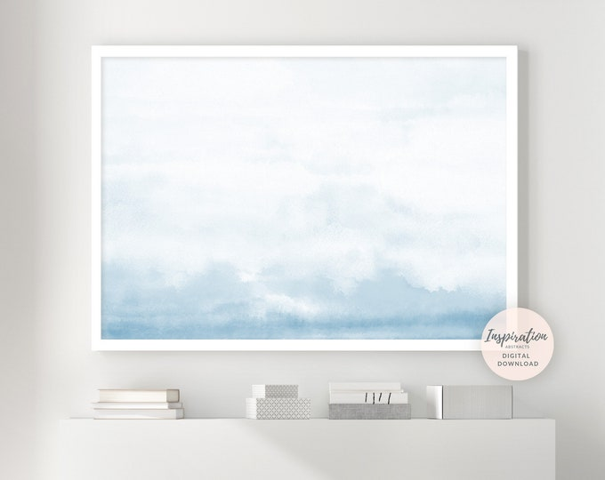 Serene Cloud Painting, Pale Blue Wall Art, Printable Art, Nursery Wall Art, Watercolour Print, Large Art, Minimalist Print, Abstract Art