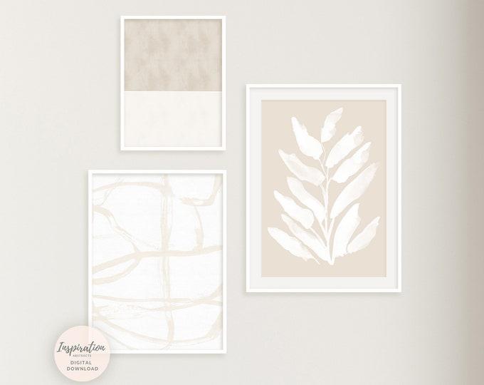 Minimal Beige White Gallery Wall Set, 3 Piece Wall Art, Modern Zen Wall Art, Living Room Art, Abstract Art, Large Wall Art