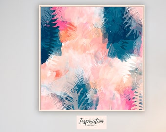 Abstract Floral Art, Oversized Wall Art, 30x30 Print, Living Room Decor, Mixed Media Art, Tropical Decor, Modern Wall Art, Gift for Her