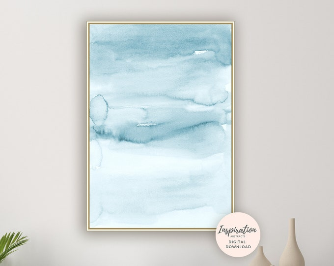 Pale Blue Watercolour Painting, Printable Art, Bedroom Art, Calming Wall Art, Minimalist Print, Large Wall Art, Beach House Art, Serene Art