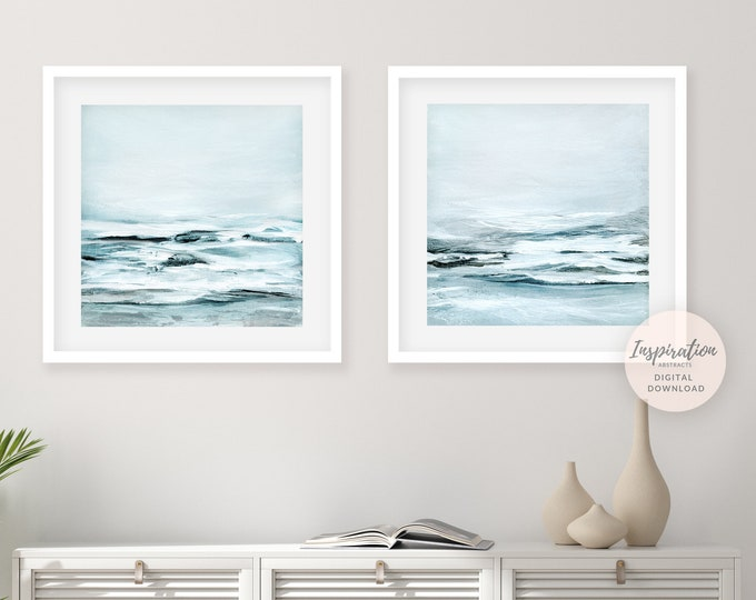 Abstract Landscape Paintings, Coastal Wall Art Set, Printable Wall Art, Set of 2 Prints, Calming Wall Art, 24x24 Art Prints
