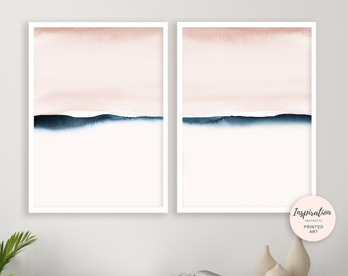 Blush and Pink Navy Watercolour Prints, Set of Two Prints, Minimalist Art, Abstract Art, Bedroom Wall Art, Calming Wall Art