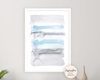 Serene Watercolour Painting, Blue Grey Wall Art, Printable Art, Abstract Wall Art, Serene Wall Art, Bedroom Wall Art, Living Room Print