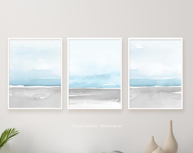 Blue Grey Watercolour Print Set, Coastal Wall Art Set, Set of 3 Prints, Zen Wall Art, Minimalist Art, Printable Art, Large Wall Art