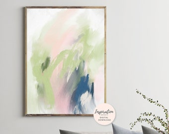 Green Abstract Painting, Large Abstract Art, Acrylic Painting, 24x36 Art Print, Extra Large Painting, Lounge Painting
