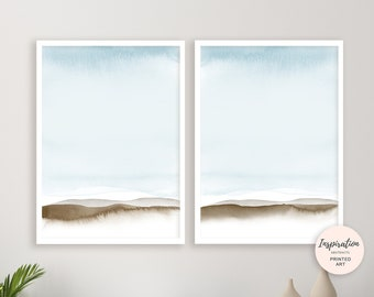 Pale Blue Wall Art, Set of 2 Prints, Blue Abstract Art, Watercolour Prints, Minimalist Art, Bedroom Art, Simple Art Prints, Beach House Art