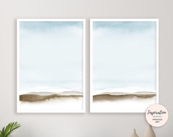 Pale Blue Wall Art, Set of 2 Prints, Blue Abstract Art, Watercolour Prints, Minimalist Art, Bedroom Art, Simple Art Prints, Beach House Art