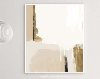 Beige Gold Minimal Abstract Painting, Printable Wall Art, Large Minimal Art, Neutral Tone Print, Modern Art Print, Digital Download