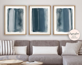 Navy Blue Abstract Paintings, Set of 3 Art Prints, Printable Paintings, Digital Download, Vertical Wall Art