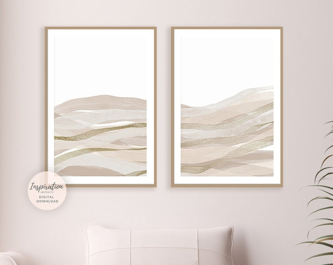 Set Of Two Abstract Landscape Paintings, Minimal Print Set, Printable Wall Art, Set of 2 Prints, Living Room Decor, 18x24 Art Prints