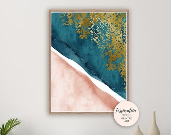 Blush and Teal Wall Art, Watercolour Print, Aerial Beach Print, Coastal Decor, Minimalist Art, Modern Art, Beach House Decor, Teal Gold Art