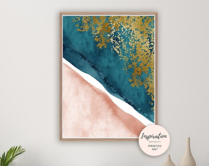 Blush and Teal Wall Art, Watercolour Print, Aerial Beach Print, Coastal Decor, Minimalist Art, Modern Art, Beach House Decor, Teal Gold Art