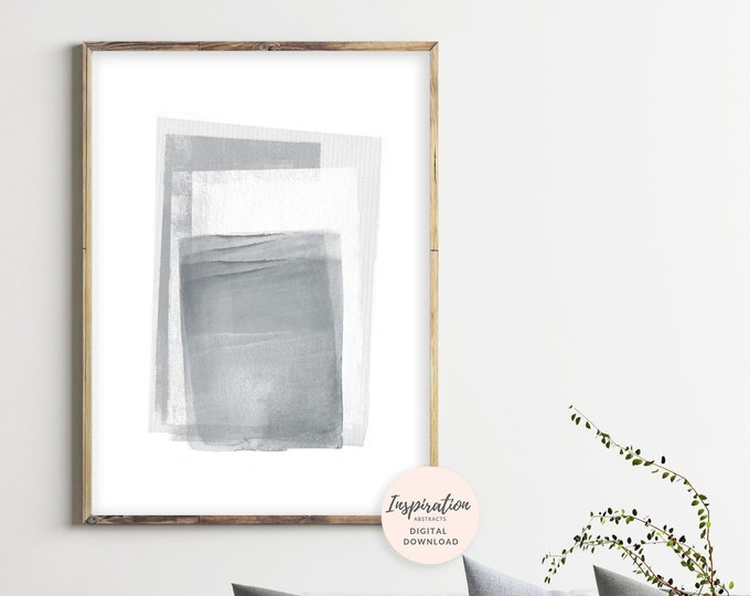 Grey and White Abstract Art, Printable Abstract Art, Minimalist Painting, Oversized Wall Art, Printable Painting