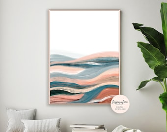 Modern Abstract Art, Abstract Landscape, Minimal Art, Printable Art, Large Wall Art, EarthTones, Copper Wall Art