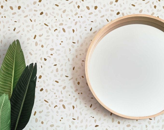 Terrazzo Wallpaper, Abstract Wallpaper, Office Decor, Minimal Wallpaper, Peel and Stick Wallpaper, Removable Wallpaper, Neutral Wallpaper