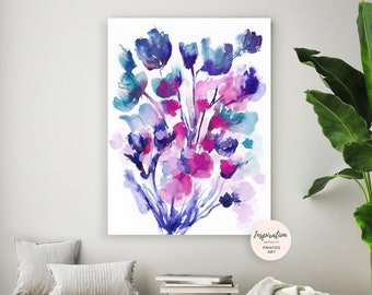 Floral Wall Art, Vibrant Watercolour Painting, Large Flower Print, Modern Art, Large Wall Art, Colourful Wall Art, Giclee Print
