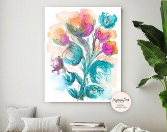 Colourful Floral Painting, Large Flower Print, Watercolour Painting, Printable Art, 18x24 Art Print, Living Room Art, Modern Art