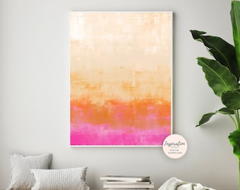 Pink Orange Wall Art, Colourful Painting, Ombre Wall Art, Minimalist Painting, Beach House Decor, Nursery Art, Printable Art, Large Wall Art