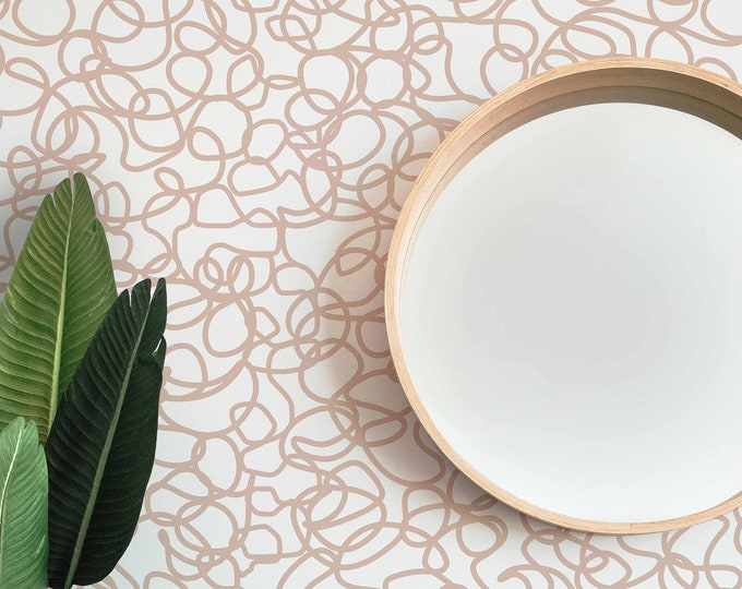 Blush Squiggles Wallpaper, Abstract Wallpaper, Peel and Stick Wallpaper, Bedroom Wallpaper, Eco Friendly, Handmade Wallpaper